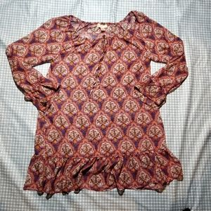 Band of Gypsies sheer polyester blouse size large